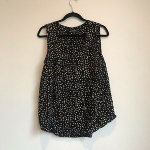 Lucky brand black and tan dotted tank blouse